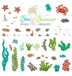 Set of underwater sea life design elements vector