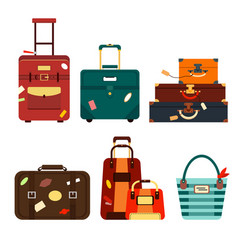 Set travel bags isolated on white background vector
