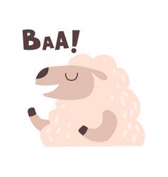 Sheep bleating cute cartoon farm animal making vector