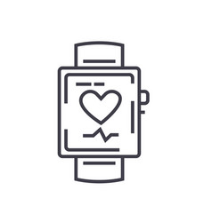 smart watch flat line concept vector image
