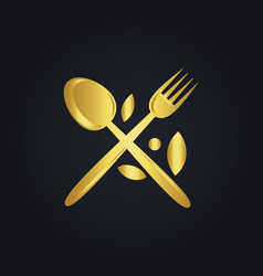 Spoon fork food menu organic gold logo vector