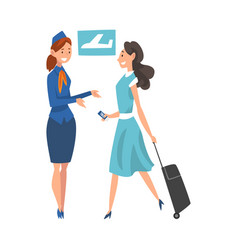 stewardess checking ticket documents at young vector image