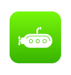 Submarine with periscope icon green vector