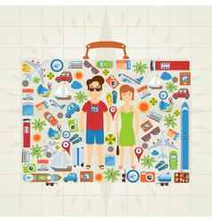 Suitcase Shaped Travel Background vector