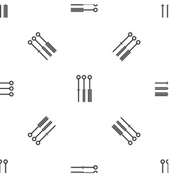 Tattoo needles pattern seamless black vector