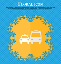 taxi Floral flat design on a blue abstract vector image
