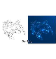 the linear drawing of the surfer on a board vector image