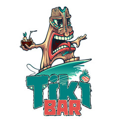 tiki is a surfer with a tropical cocktail vector image
