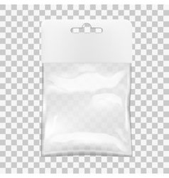 Transparent Blank Plastic Bag With Hang Slot vector