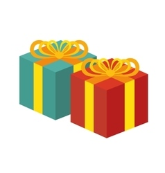 Two gift boxes red and green white background vector