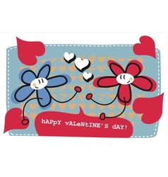valentines day doodle card vector image