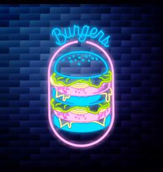 vintage fast food emblem vector image