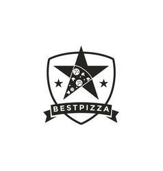 Vintage retro seal emblem logo pizza and star vector