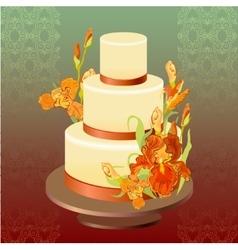 Wedding cake with red iris flower design vector