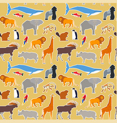 wild animal seamless pattern wildlife cartoon icon vector image