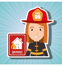 Woman fire house icon vector