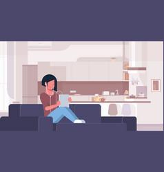 Woman listening audio book through headphones vector
