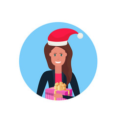woman red hat face avatar new year merry christmas vector image