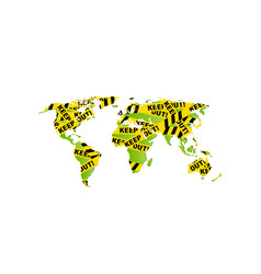 World map decorated - keep out police yellow vector