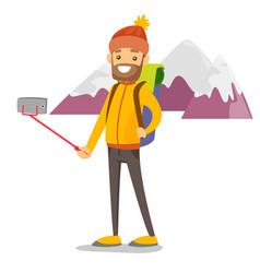 Young caucasian white traveler man making selfie vector