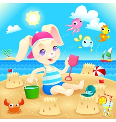 Young rabbit makes castles on the beach vector