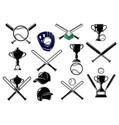 Baseball equipments set vector image vector image