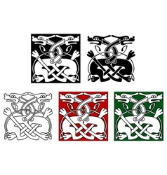 Celtic ornament with wild dogs vector image