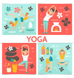 flat yoga composition vector image