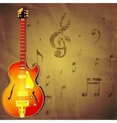 jazz guitar on paper background with music notes vector image