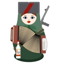 Matryoshka with an accordion a gun and vodka vector image vector image