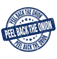 Peel back the onion blue grunge stamp vector