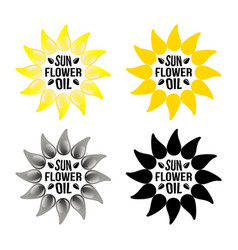 set of bright yellow sunflower logo emblem vector image