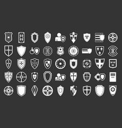 shield icon set grey vector image