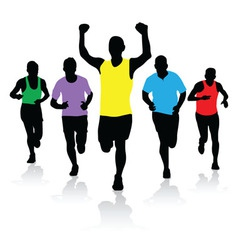 a group of runners vector image
