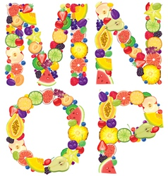 Alphabet from fruit MNOP vector image vector image