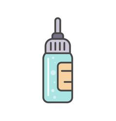 Bottle with liquid medicine linear icon vector