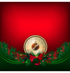 bright christmas background with clock and garland vector image