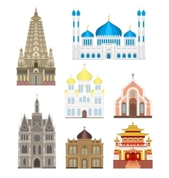 Cathedrals and churches infographic temple vector image