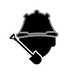 construction worker and shovel icon vector image