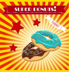 donut vintage banner background vector image