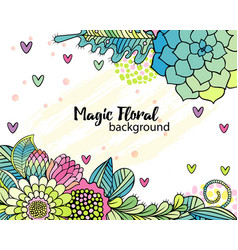 flower background with hand drawn floral bouquets vector image