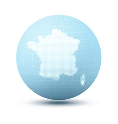 Silhouette of france on blue sphere vector