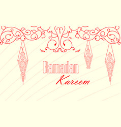 vintage lanterns for ramadan wishing vector image vector image