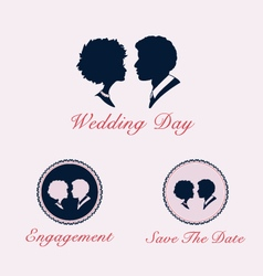 Wedding couple profile silhouette and cameo vector image