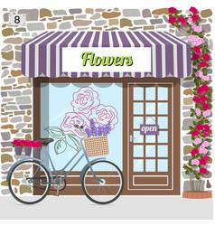 flower shop building facade of stone vector image