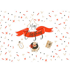 hand drawn merry christmas shopping time vector image vector image