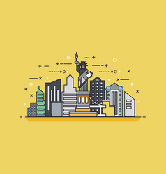 usa icon linear style vector image