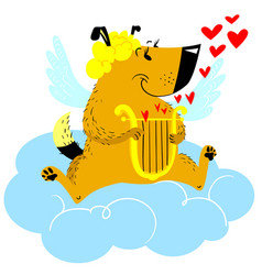 valentines day dog character dog in cupid or vector image vector image
