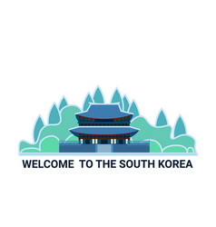 welcome to the south korea poster with famous vector image