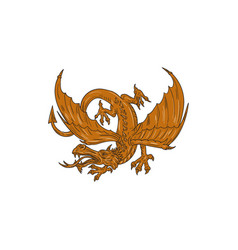 agressive dragon crouching drawing vector image vector image